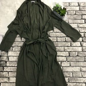 Justfab Green Maxi Waterfall Duster Coat Jacket